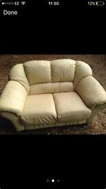 Real leather cream 3 seater & 2 seater
