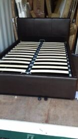 BROWN FAUX LEATHER OTTOMAN SMALL DOUBLE BED FRAME NEW