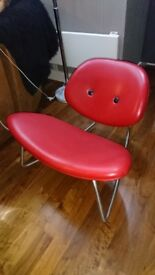 Bo concept red leather smiley rocking chair