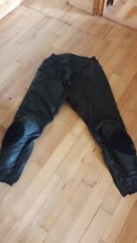 "Black leather trousers 34"" waist"