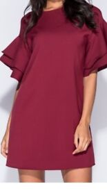 Ladies wine coloured frill dress sizes 6,8,10,14 available