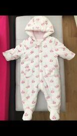 Mothercare bunny snowsuit 3-6 months