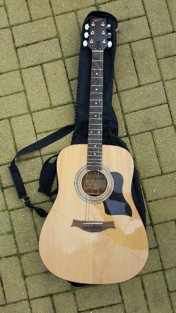 Jim Deacon Acoustic Guitar, carry case, digital tuner and chords ...