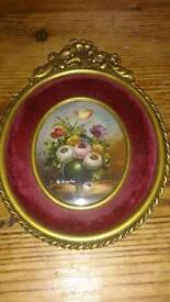 Beautiful watercolour painting with vintage frame