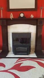 Mahogany/Real Marble Fireplace