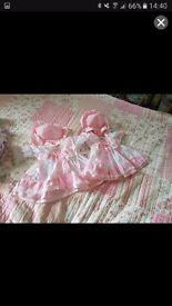 Pink Gingham Newborn Dress Set
