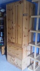 Solid pine FLEXA wardrobe unit with two drawers and cupboard under