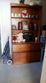 A light brown shelfs unit