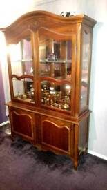 WOODEN DISPLAY AND CHEEST OF DRAWERS