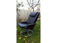 Ikea black leather reclining swivel armchair