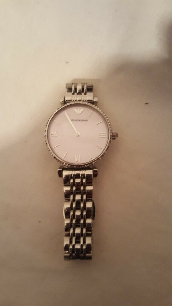 eb2b9765 Emporio Armani AR1779 Mother of Pearl Ladies Silver Pink Gianni T-Bar Watch  | in Clapham, London | Gumtree