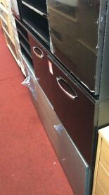 Hygena Heyward Large Black Gloss TV unit 150cm wide