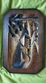 Vintage German Wood Carved Plaque