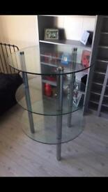 Glass and chrome shelf unit