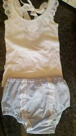 Girls 2-3 bloomers and low back lace vest brand new