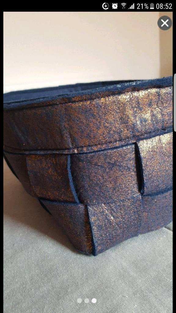 Brand new medium size blue felt storage bag box