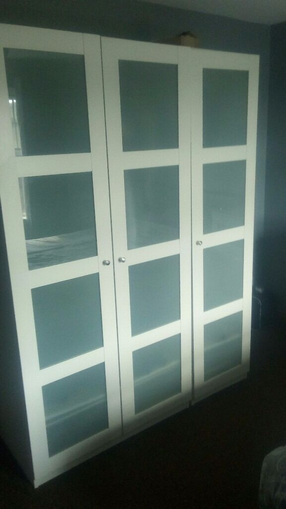 White bedroom furniture setin Downpatrick, County DownGumtree - Full bedroom set all white 1 bought new 6 months ago Wardrobe double 200cmx 100cmx60cm Single wardrobe 200cmx 50 cm x 60cm joined I was pics as one large wardrobe Tall bedside drawers x2 sets 95cmx78cmx40 cm Set storage cubes with 2 storage boxes...