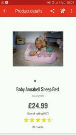 Baby annabel sheep bed and doll