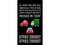 Scrap cars & vans wanted 4x4s all wanted