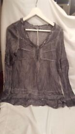Ladies Silver Grey Crinkle Style Blouse