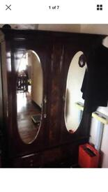 Antique bedroom suite. Walnut. Furniture. Wardrobe. Dresser. Drawers.