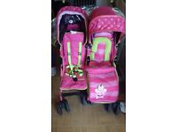 ISafe Twin Stroller. Suitable from birth. Brand new straps and fabric seat units.
