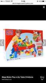 Mega blocks table and big bag of mega blocks
