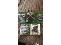Xbox one, 2 remotes, double charger stand & 5 games