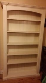 Cream Painted Solid Wood Bookshelf Storage Unit