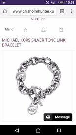 Michael Kors silver tone link bracelet