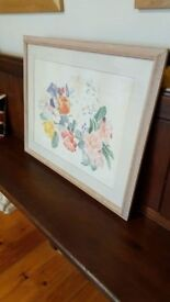 large original watercolour painting in wood frame of flowers