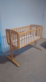 Mothercare Wooden Swinging Crib with mattress, £20