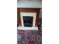 ELECTRIC FIRE & WOODEN SURROUND.