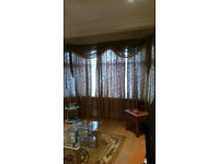 Light Gold Curtain Bay window in 3 Panels with Curtain Pelmet and Baywindow pole