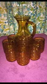 VINTAGE AMBERWARE PITCHER & 6 GLASSES