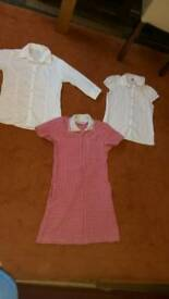 School white blouses and red gingham dress 7-8 y