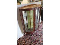 Mahogany Display Cabinet, Half Moon with Glass Shelves