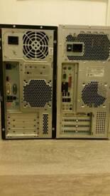 2 x PC's. 2x keyboard. 1x monitor for sale. Fujitsu.Siemens. Intel. Windows.