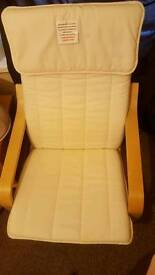 Cream bouncing chair ikea with matching footstool