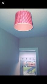 Pink polka dot bedside lamp and light shade