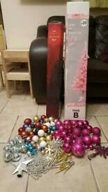 2 x Christmas trees and decorations
