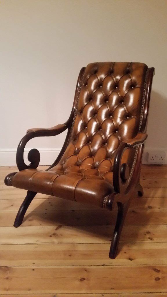 Antique Brown Leather Chesterfield-Style Low Lounge Armchair