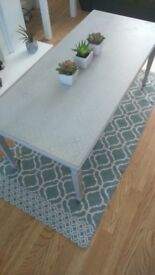 shabby chic distressed grey coffee table with rustic pattern