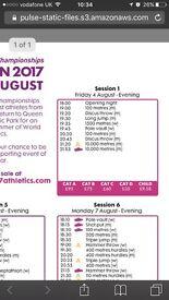 2x £75 IAAF Atheltics tickets 4th Aug FACE VALUE