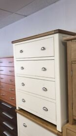 House of Kent 4 drawer chest solid wood Oak top two tone