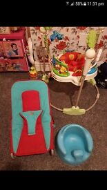 Baby items, jumparoo, bumbo, bouncer chair and more