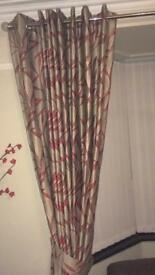 Beige & Red Eyelet Curtains