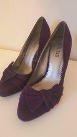 purple pointed court heels, size 37