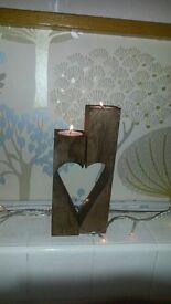 Wooden Tea Light and Candle Holder