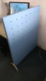 Blue freestanding wooden office divider / partition 700mm wide x 1100mm high
